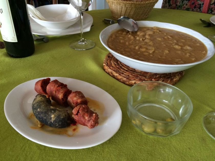 Fabada, a white bean stew served with chorizo, panceta, and blood sausage.
