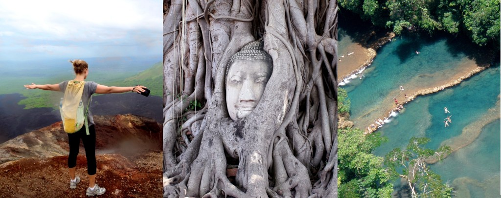 An image grid showing 1, me on top of a volcano in Nicaragua; 2, a Thailand Buddha in tree roots; 3, Semuc Champey in Guatemala.