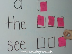 spelling sight words with post-it notes