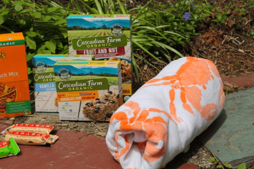 Beach towel and snacks
