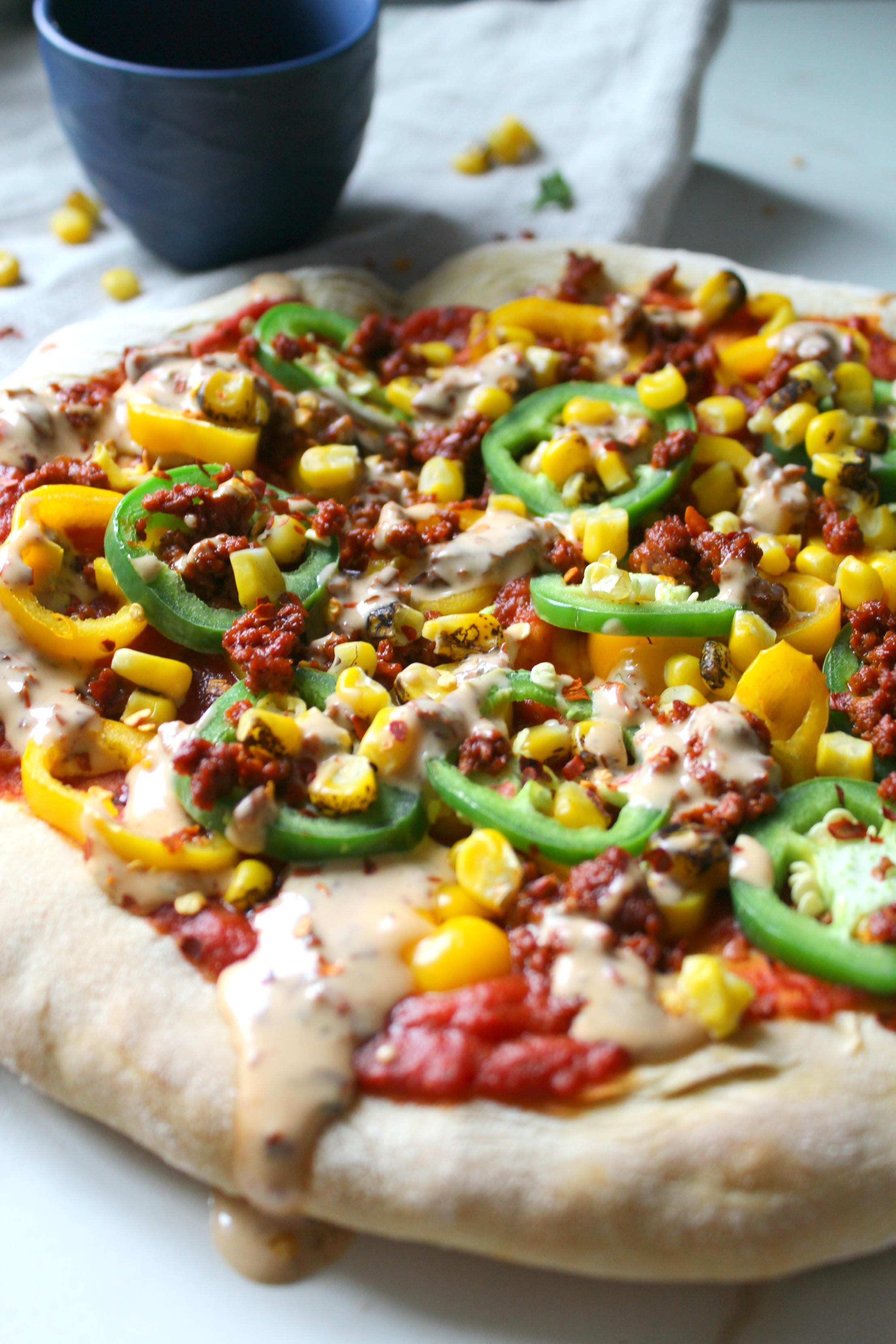 Soyrizo Pizza with Vegan Chipotle Ranch   No-Cheese   ThisSavoryVegan.com