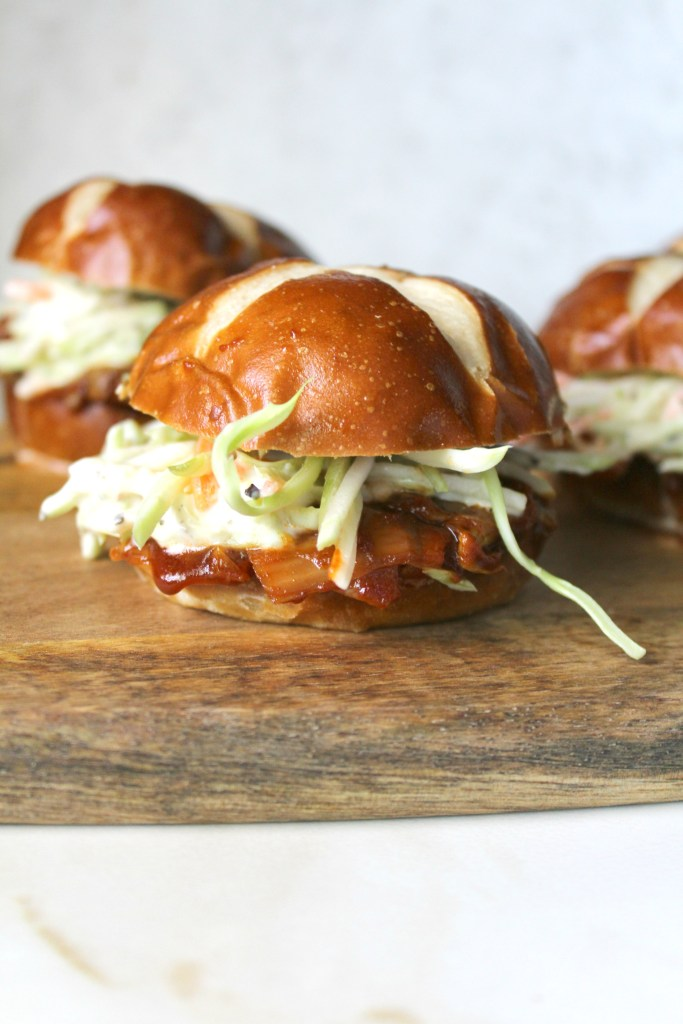 """ThesePulled Artichoke BBQ Sliders are the perfect summer burger. Artichokes have a """"meaty"""" texture that when combined with BBQ sauce is truly mouth watering   ThisSavoryVegan.com #thissavoryvegan #bbq #summer"""