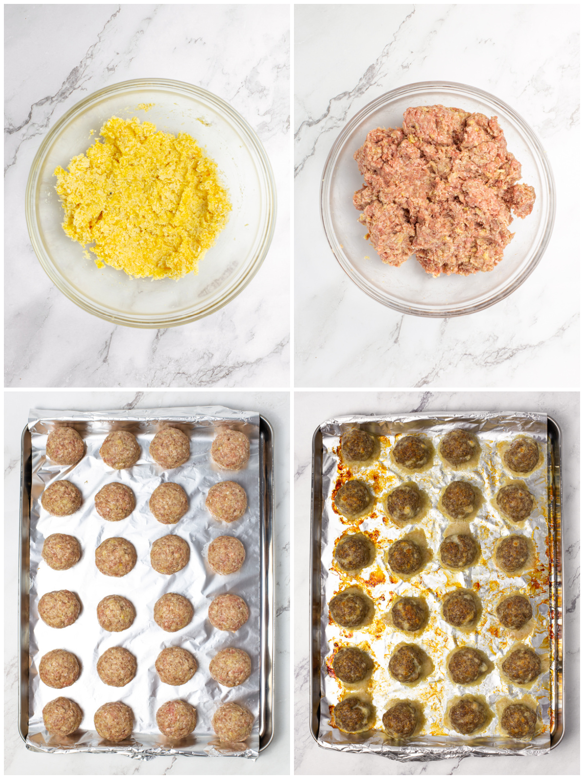 Step by step photos on how to make Homemade Meatballs