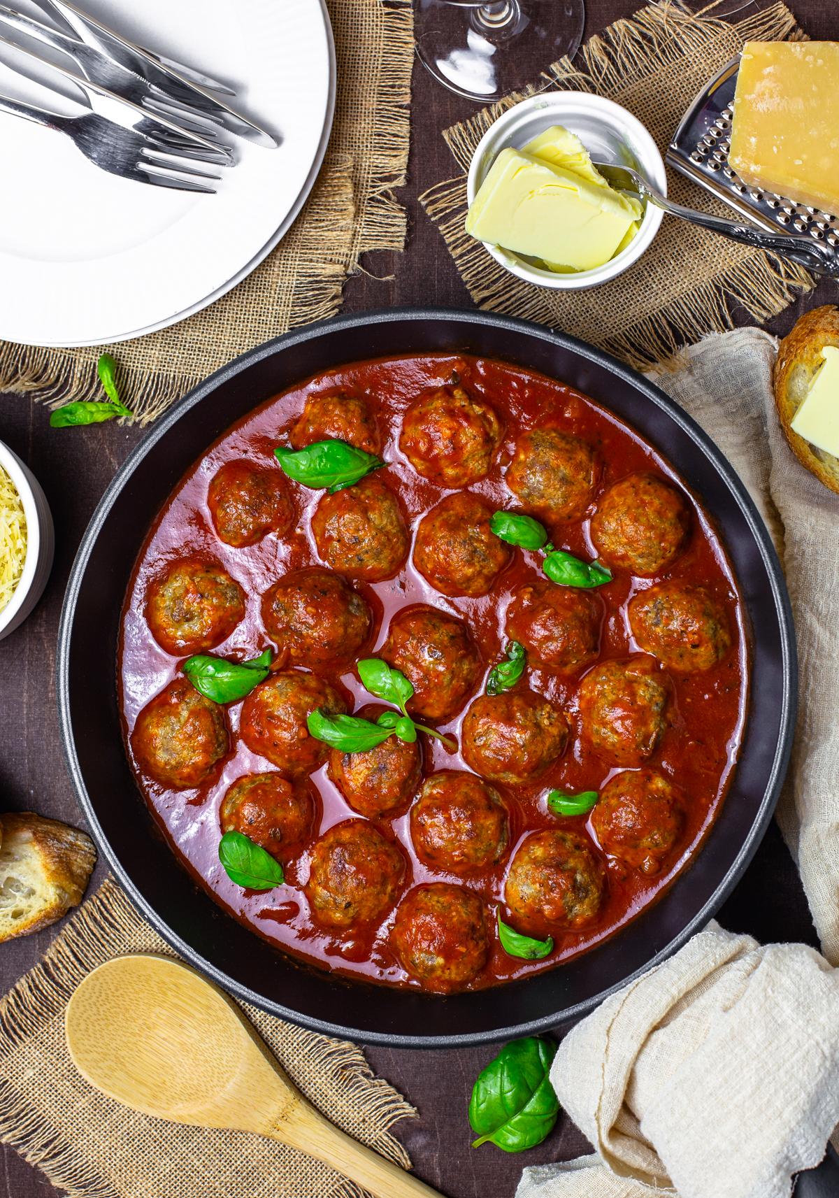 Homemade Meatballs in sauce in pan