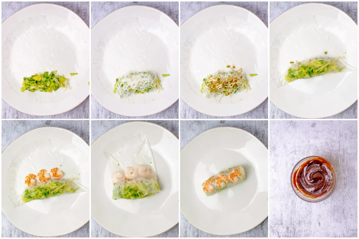 Step by step photos on how to make Vietnamese Salad Rolls
