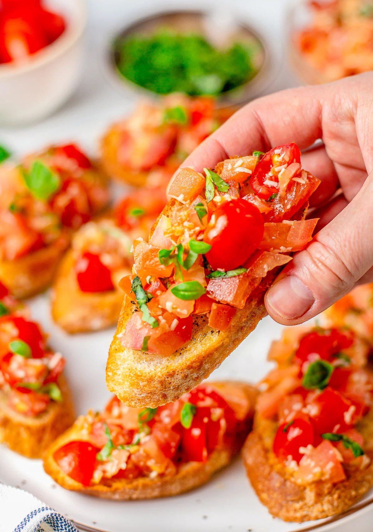Hand holding up one Crostini with Bruschetta on top