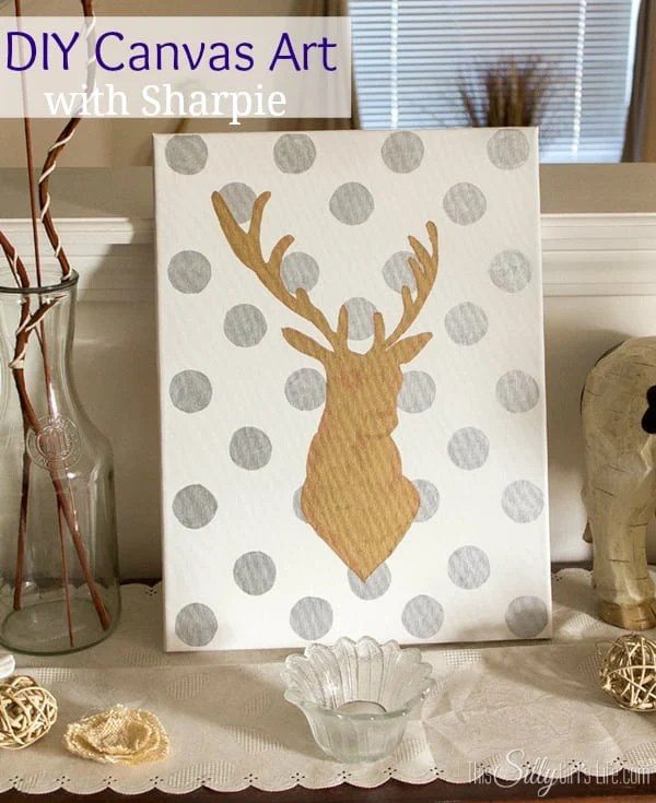 DIY Canvas Art with Sharpie. SO easy and SO cute!! Step by step directions too, you can't mess this up! #StaplesSharpie #PMedia #ad