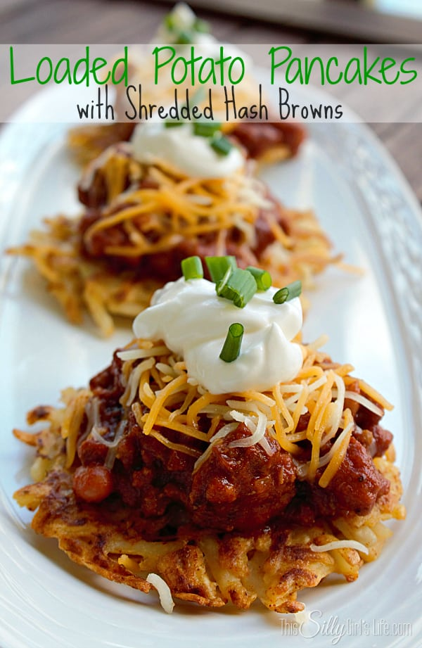 Loaded Potato Pancakes with Shredded Hash Browns recipe. Crispy potato pancakes topped with chili, cheese, sour cream and scallions, a perfect and fast meal! #OreIdaHashbrn #shop #cbias