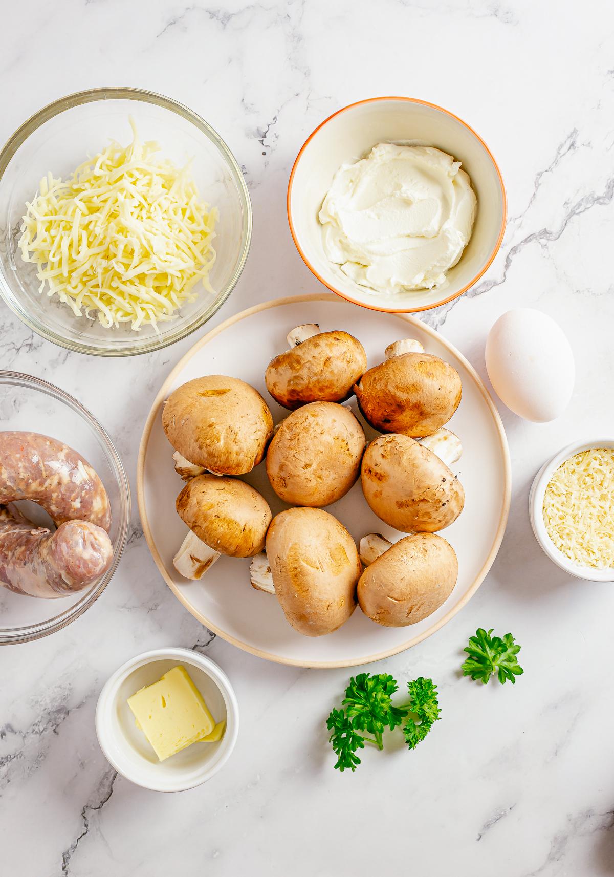 Ingredients needed to make Sausage Stuffed Mushrooms.