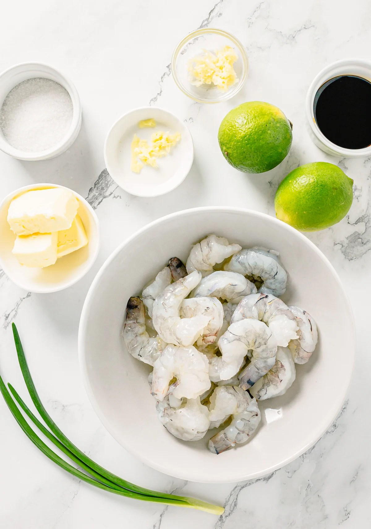 Ingredients needed to make Shrimp Skewers