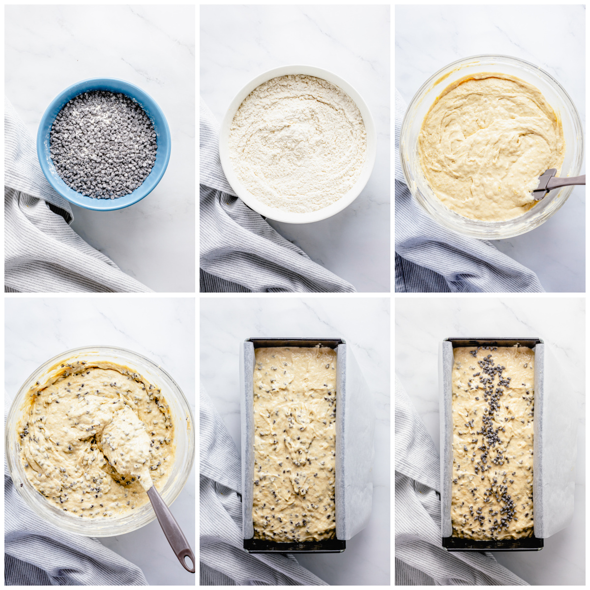 Step by step photos on how to make a Chocolate Chip Banana Bread Recipe.