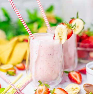 Square image of two smoothies with straws and fruit