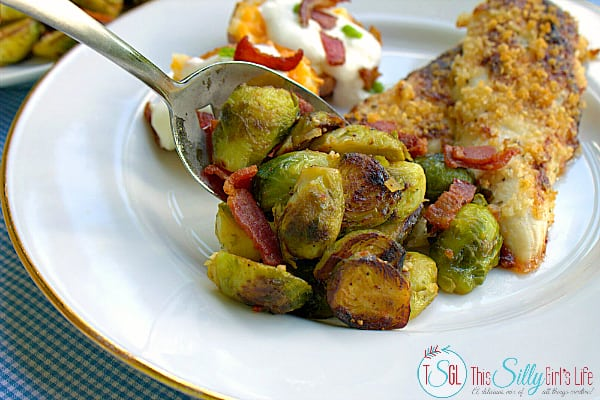 Baked Parmesan Chicken recipe with side dishes, seared Brussels sprouts and twice baked potatoes, the perfect budget meal! #RollIntoSavings #shop