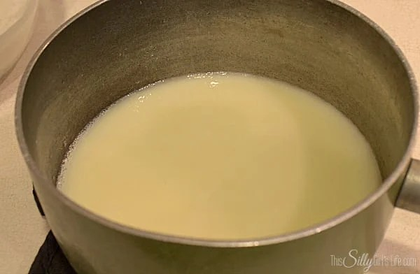 In a sauce pan, add the remaining cream and 3/4 Cup sugar. Over medium low heat, bring mixture to simmer, just until the sugar dissolves. Take off the heat.