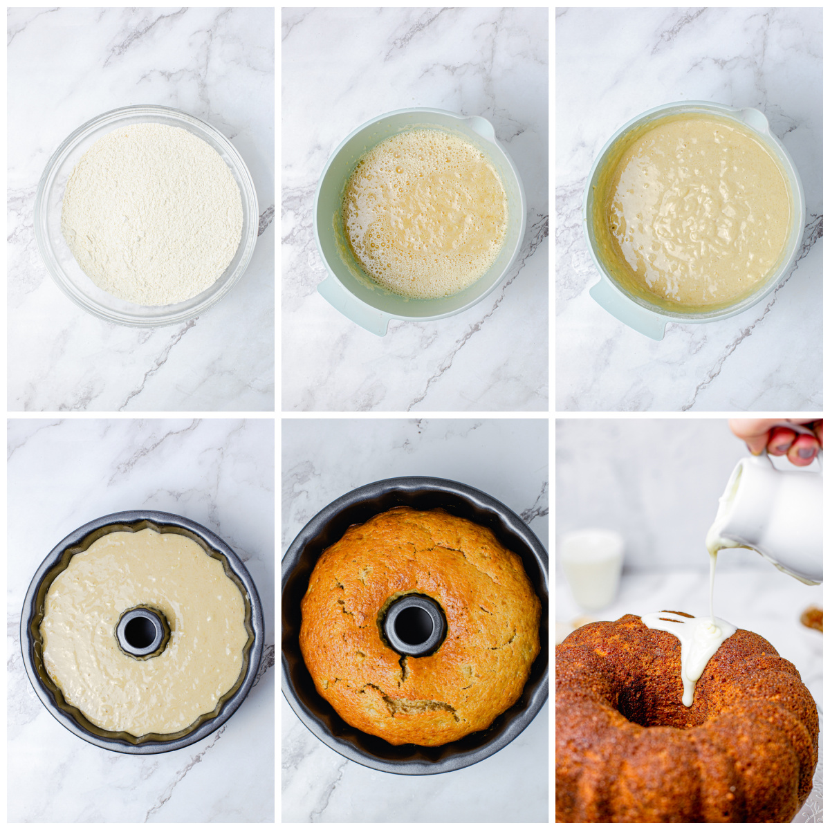 Step by step photos on how to make a Hummingbird Bundt Cake