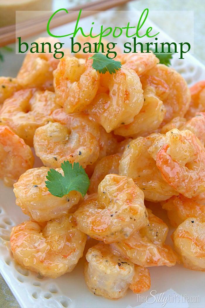 Chipotle Bang Bang Shrimp, pan fried shrimp tossed in a creamy sweet and smokey sauce! - ThisSillyGirlsLife.com #SeasonedGreetings #ad #BangBangShrimp