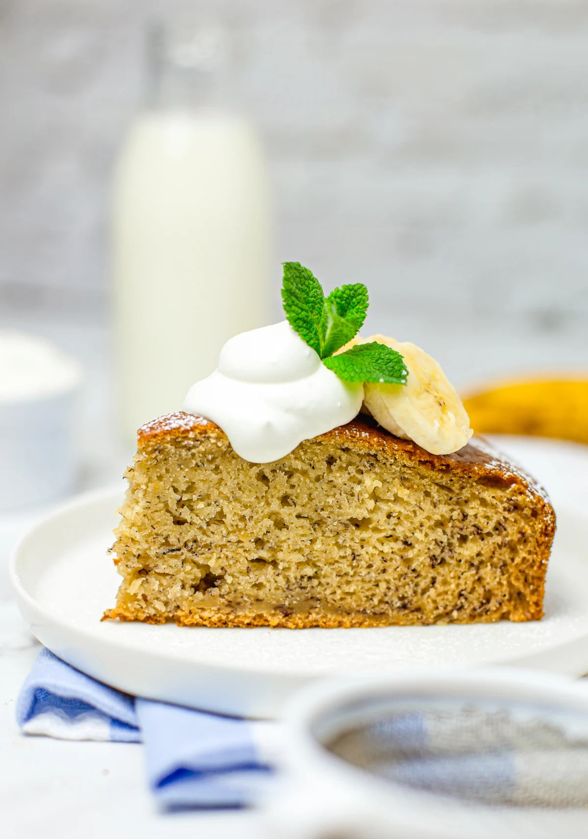 Side view of Snack Cake garnished