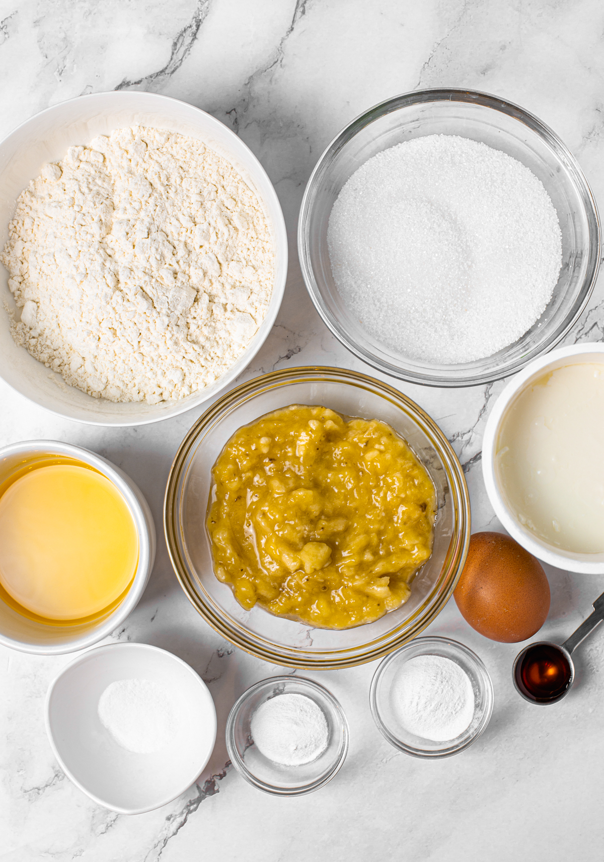 Ingredients needed to make Banana Snack Cake