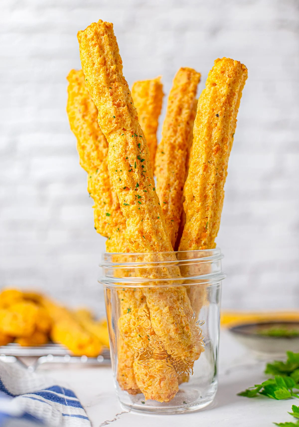 Cheese Straws in glass jar