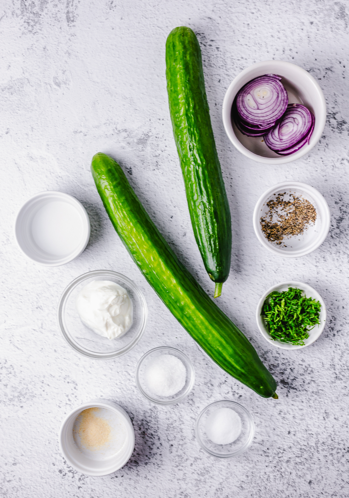 Ingredients needed to make a Dill Cucumber Salad
