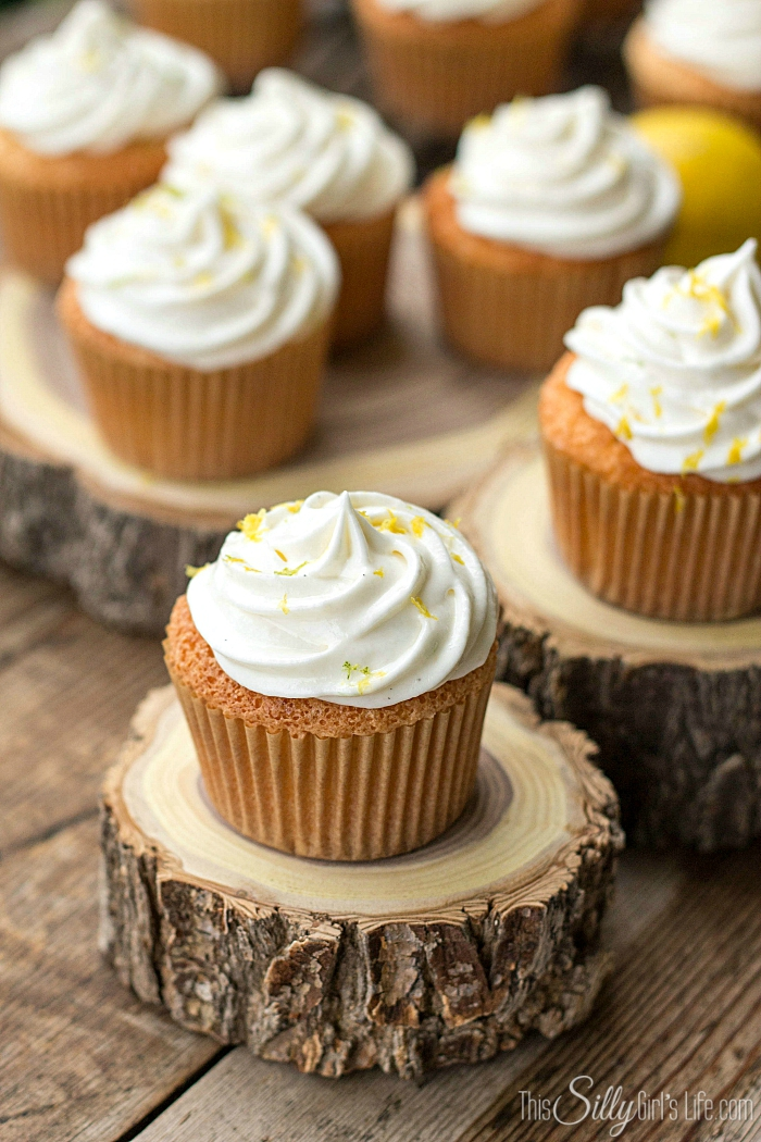 Lemon Lime Angel Food Cupcakes, light as air homemade angel food cupcakes and whipped frosting, flavored with lemon and lime zest! - ThisSillyGirlsLife.com #angelfood #whippedfrosting #lemonlime