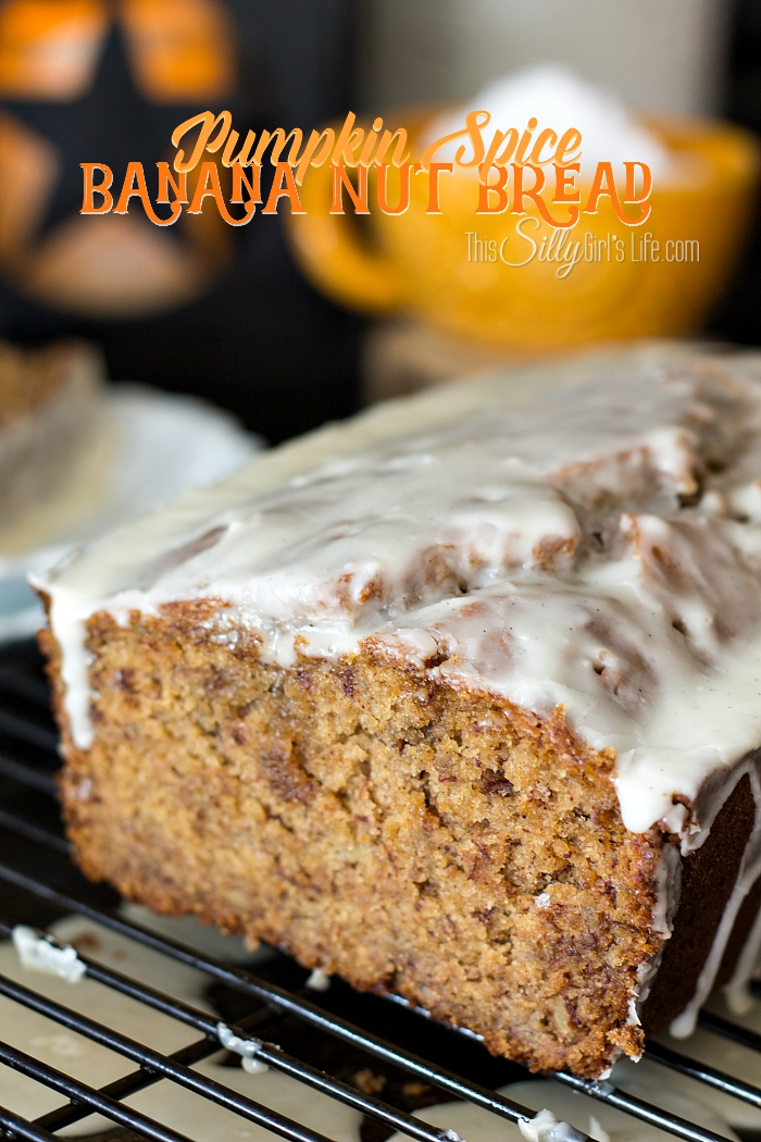 Pumpkin Spice Banana Nut Bread, extremely moist banana bread studded with pecans, topped with vanilla glaze and loaded with pumpkin spice!! - ThisSillyGirlsKitchen.com #bananabread #pumpkinspice