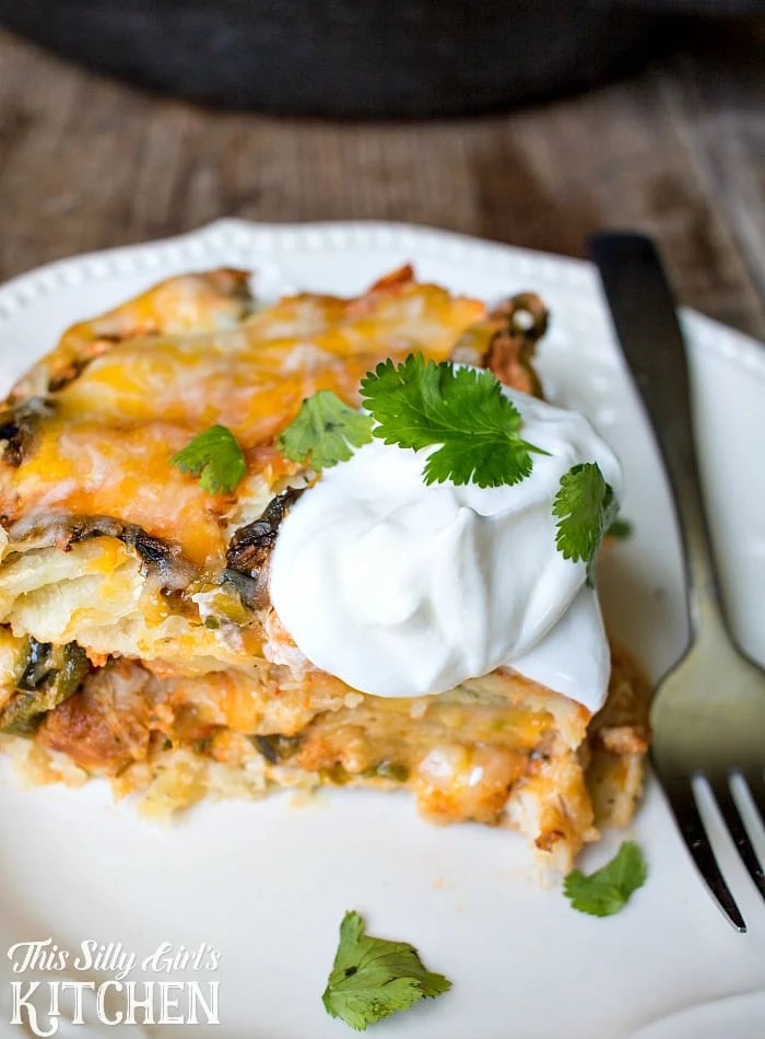 """""""Stuffed Poblano"""" Mexican Lasagna, flavors of traditional stuffed poblanos in lasagna form, with fresh salsa, cheese and chicken! from ThisSillyGirlsLife.com #ad"""