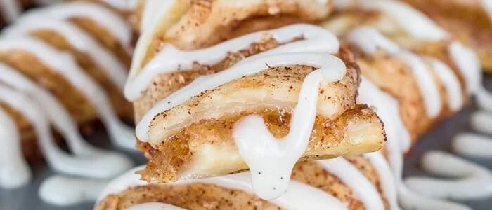 Close up of glazed apple cinnamon twist