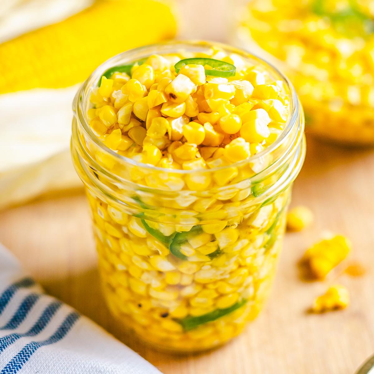 Finished Corn Relish in mason jar square image