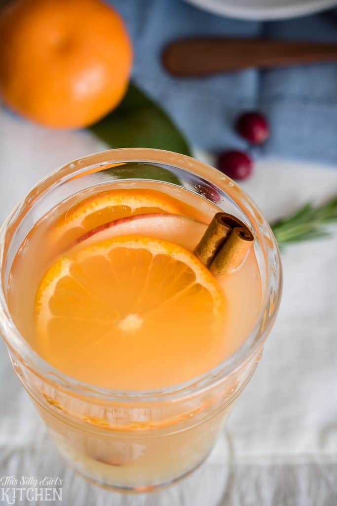 Overhead of inside glass of Rum Punch with fruit and cinnamon stick