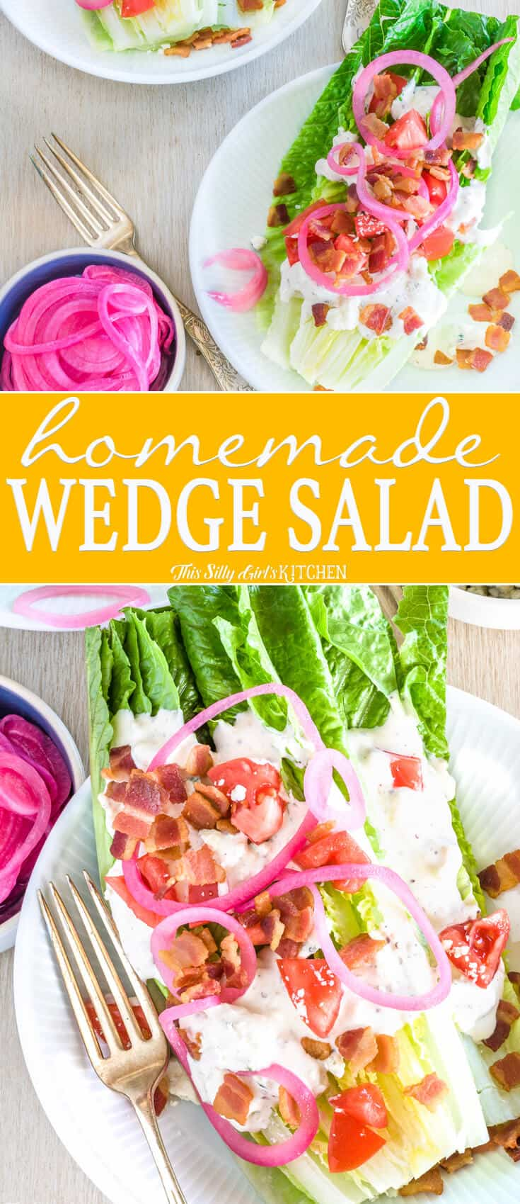 Romaine Wedge Salad collage image with title in center