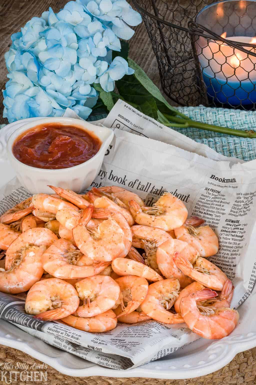 Peel and Eat Shrimp, boiled in a rich beer stock makes this one super flavorful shrimp cocktail!