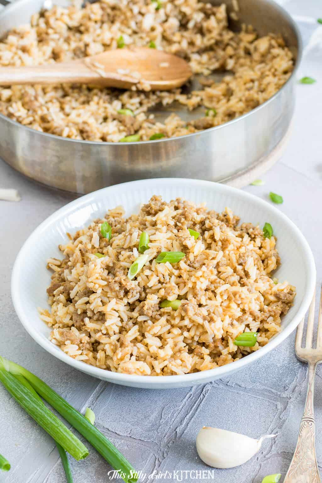 Dirty rice with sausage is a yummy side or main dish your whole family will love! #recipe from ThisSillyGirlsKitchen.com #rice #dirtyrice #sausage #withsausage