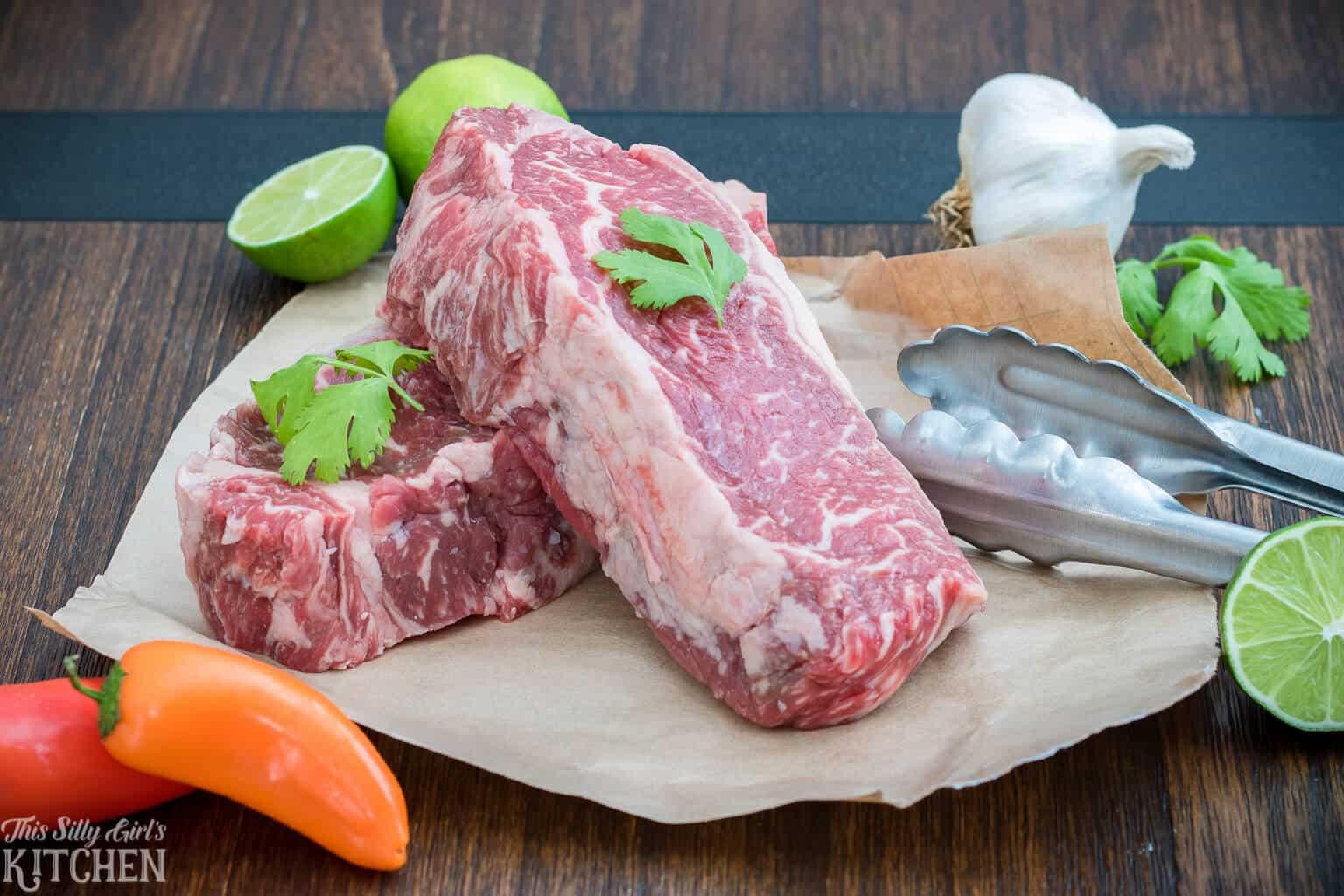 Partial ingredients needed to make Steak Kabobs