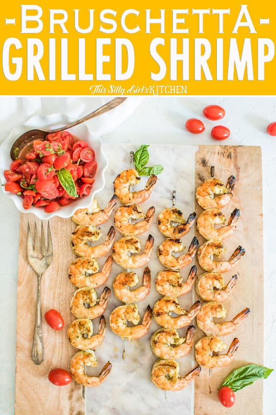 Pinterest image of Bruschetta Grilled Shrimp with title on top