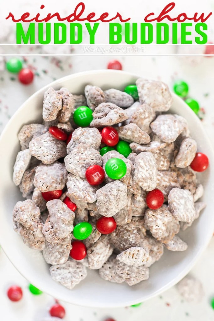Reindeer Chow AKA Muddy Buddies with a Holiday twist! #recipe from thissillygirlskitchen.com #reindeerchow #muddybuddies #puppychow #holiday #christmasdesserts #christmas