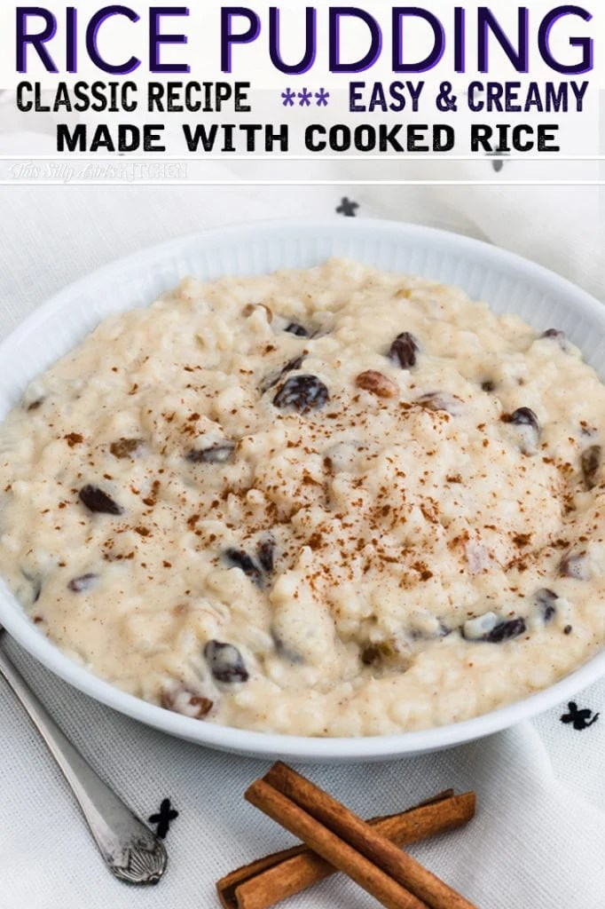 Using rice that has already been cooked is a great way to use up leftovers for thisRice pudding with Cooked Rice! #recipe from thissillygirlskitchen.com #ricepudding #ricepuddingwithcookedrice #creamyricepudding