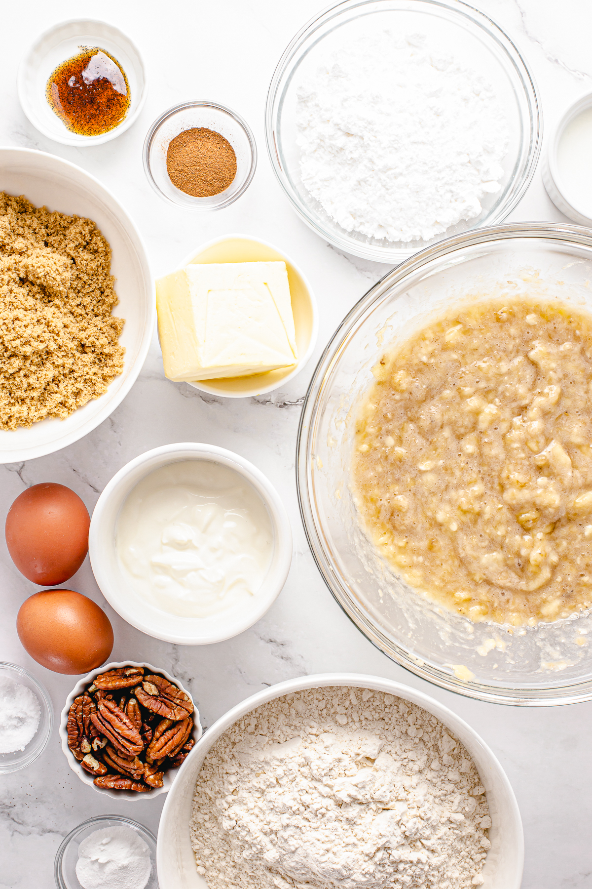 Ingredients needed to make Banana Nut Bread