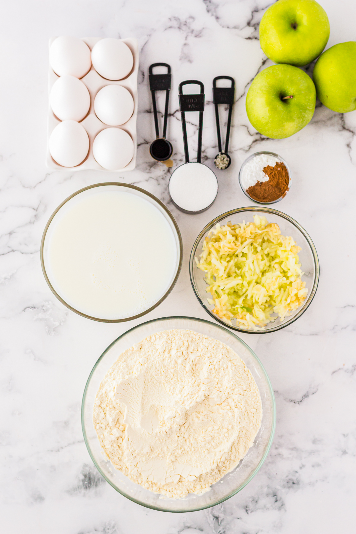 Ingredients needed to make Caramel Apple Funnel Cakes