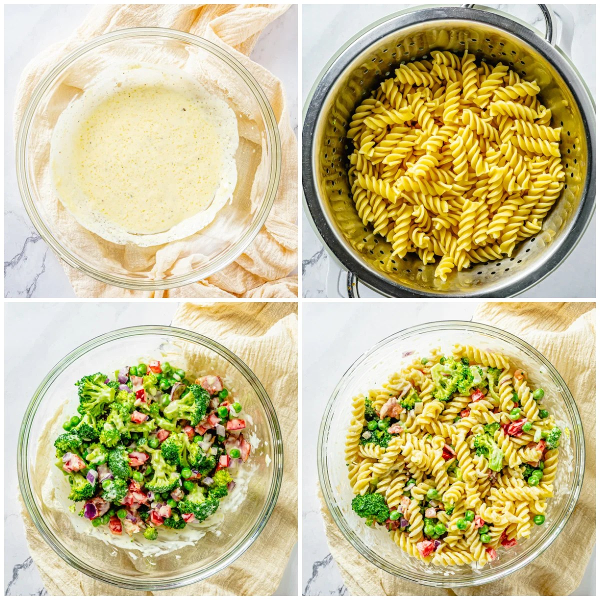 Step by step photos on how to make Broccoli Pasta Salad
