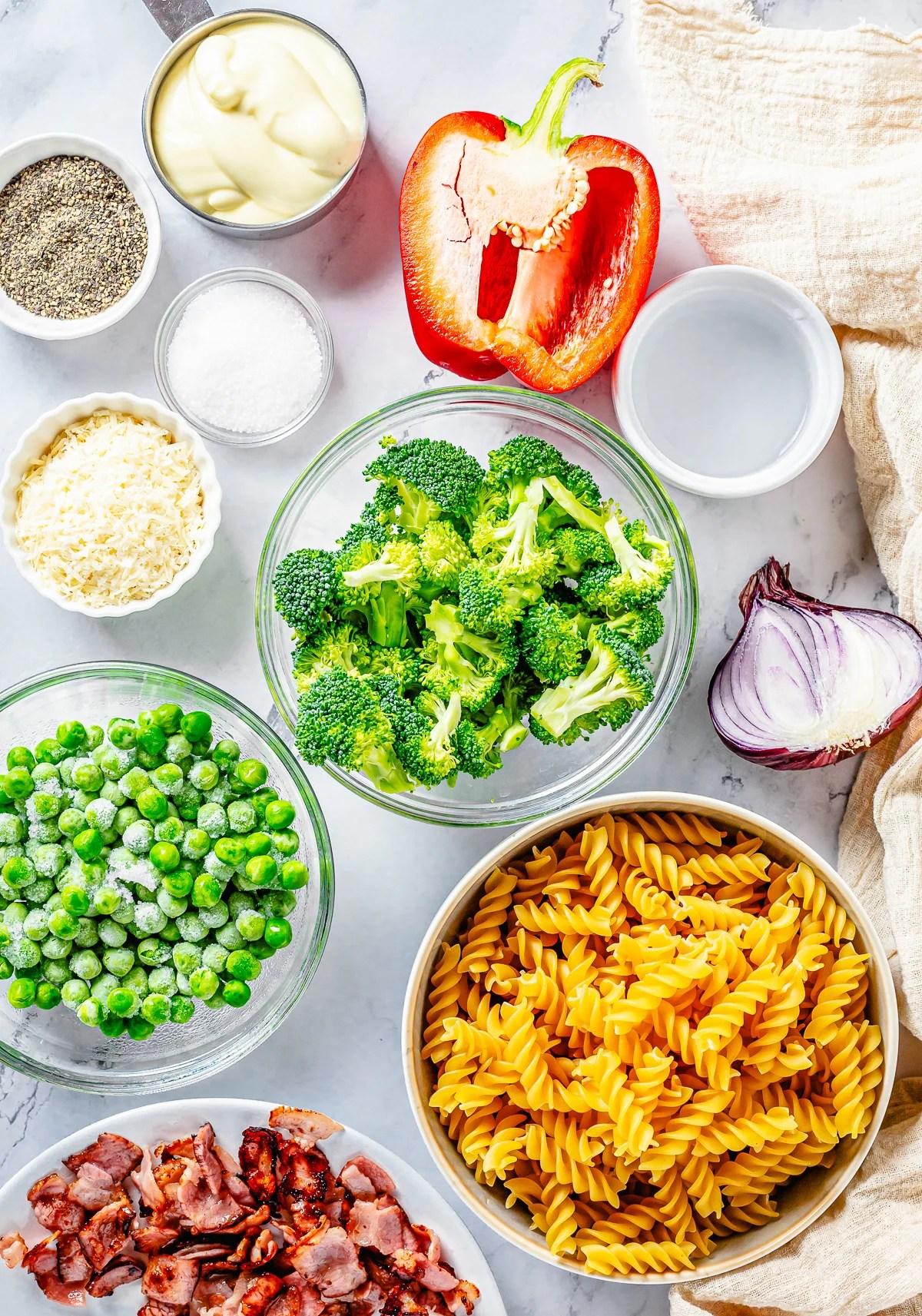 Ingredients needed to make Broccoli Pasta Salad