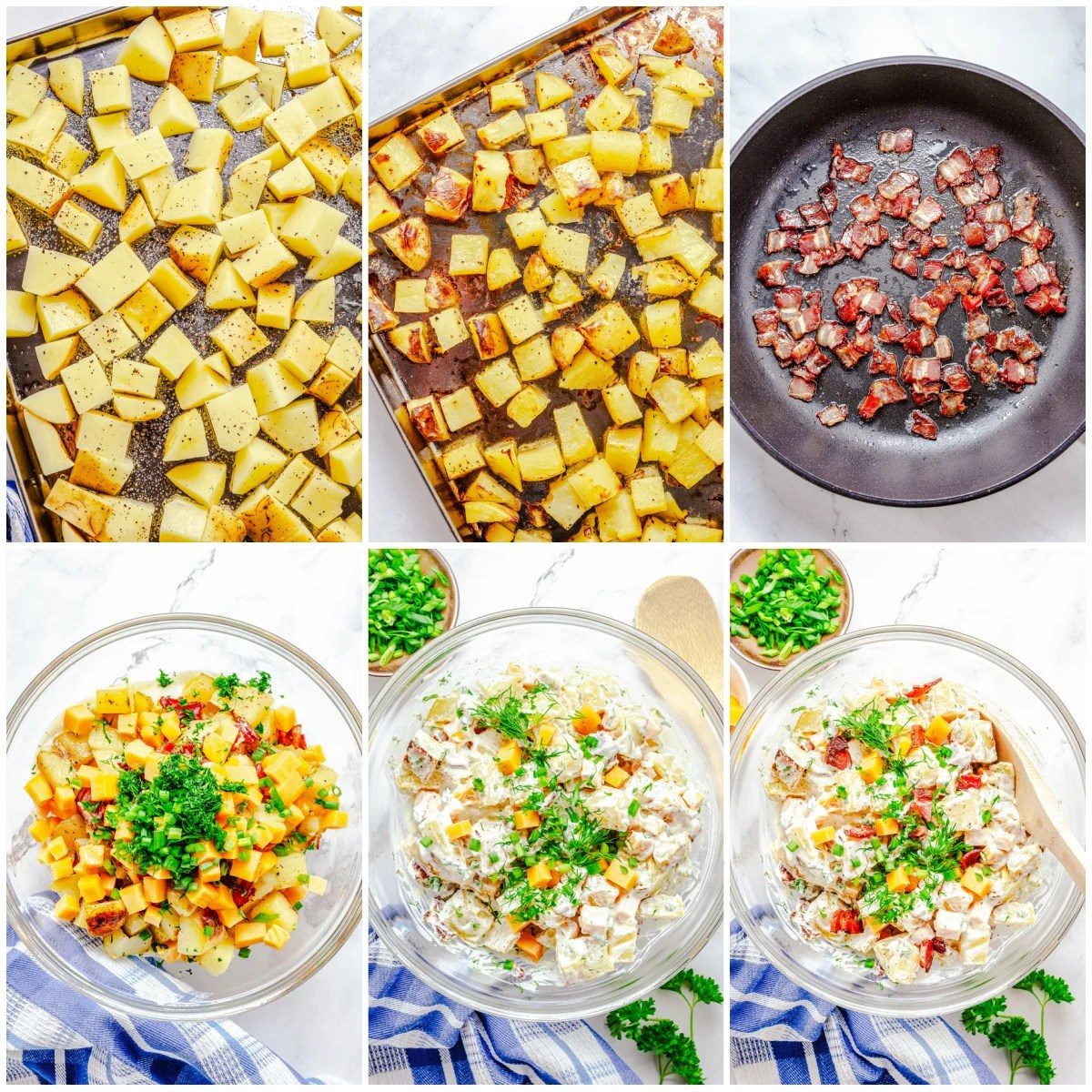 Step by step photos on how to make Bacon Ranch Potato Salad