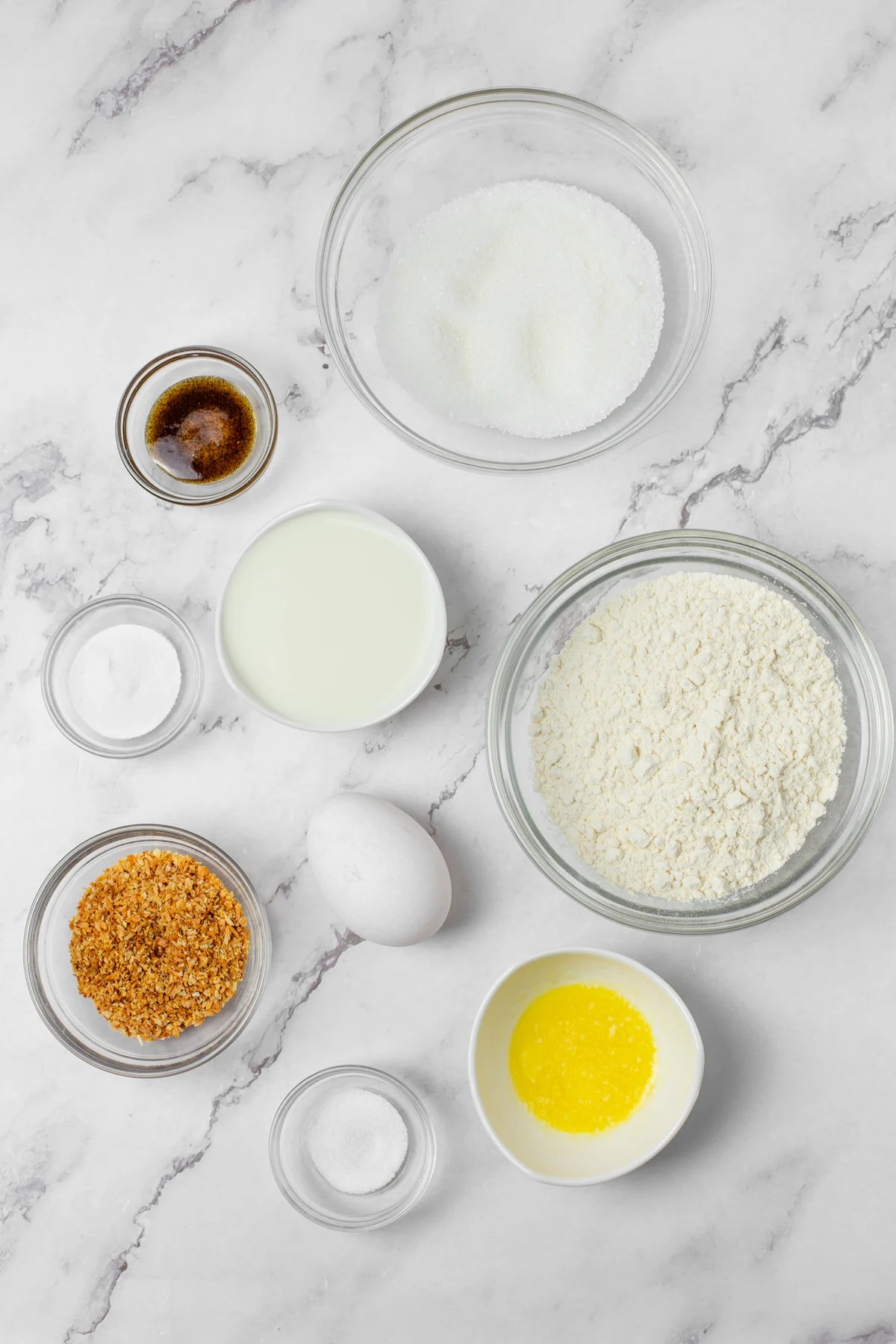 Ingredients needed to make Baked Coconut Donut Holes