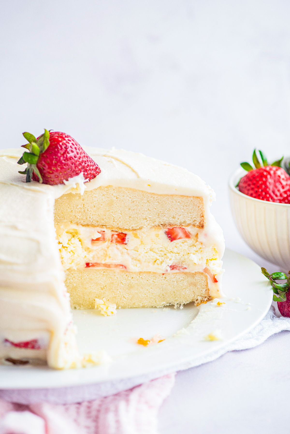 Inside of assembled Cheesecake Cake on cake stand