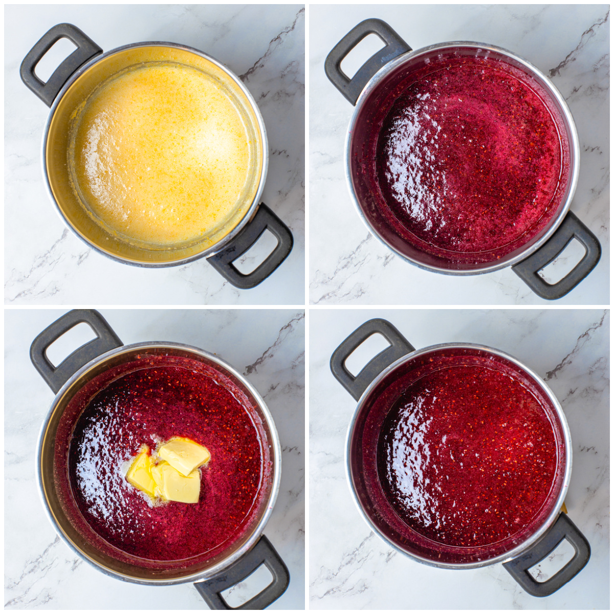 Step by step photos on how to make Raspberry Curd