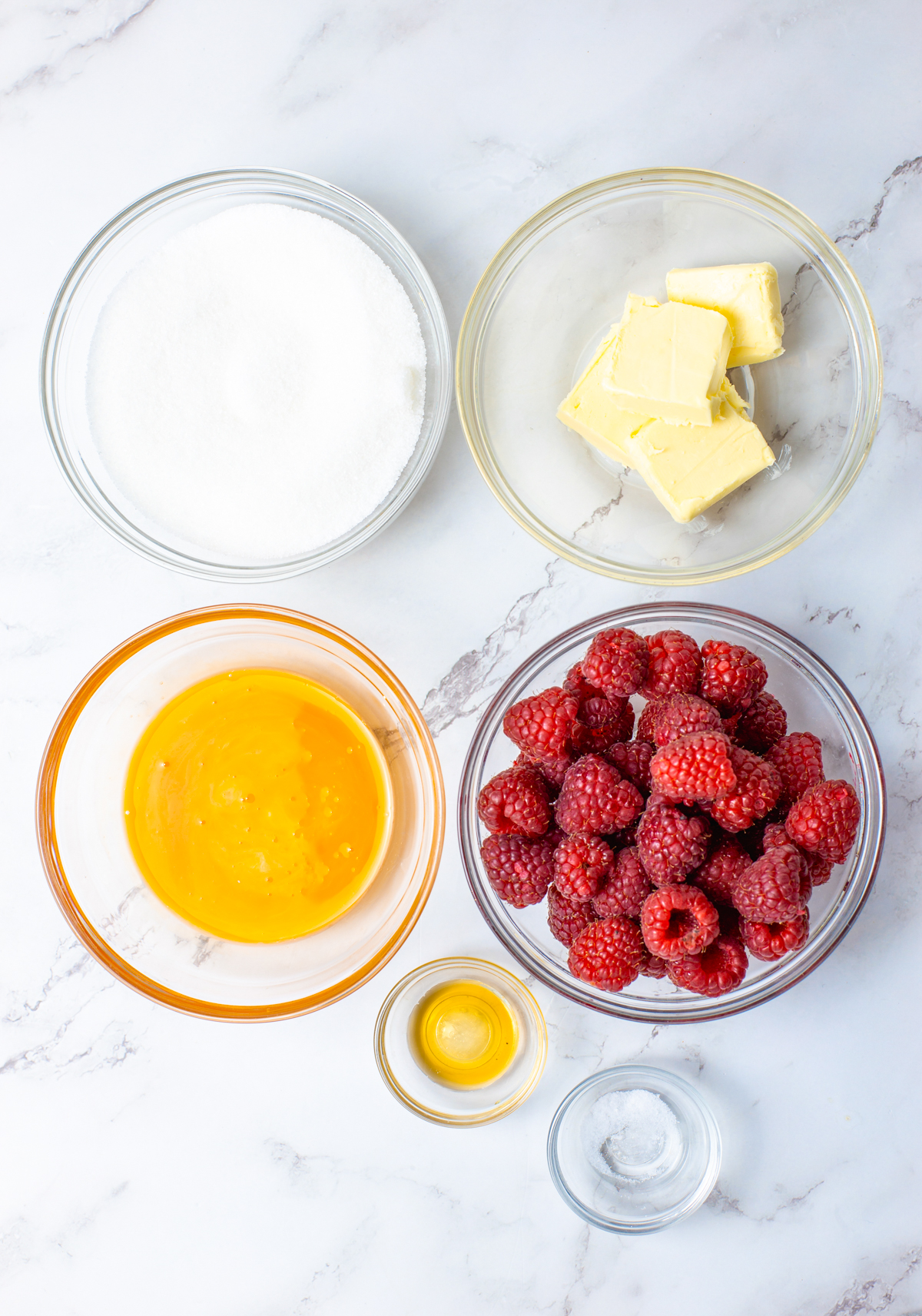 Ingredients needed to make Raspberry Curd