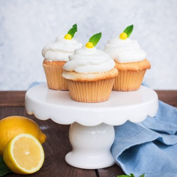 Square photo of Lemon Cupcakes on small cake stand