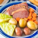 Close up photos of Corned Beef Dinner on plate square image