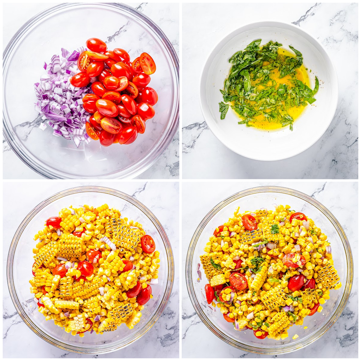 Step by step photos on how to make Corn and Tomato Salad