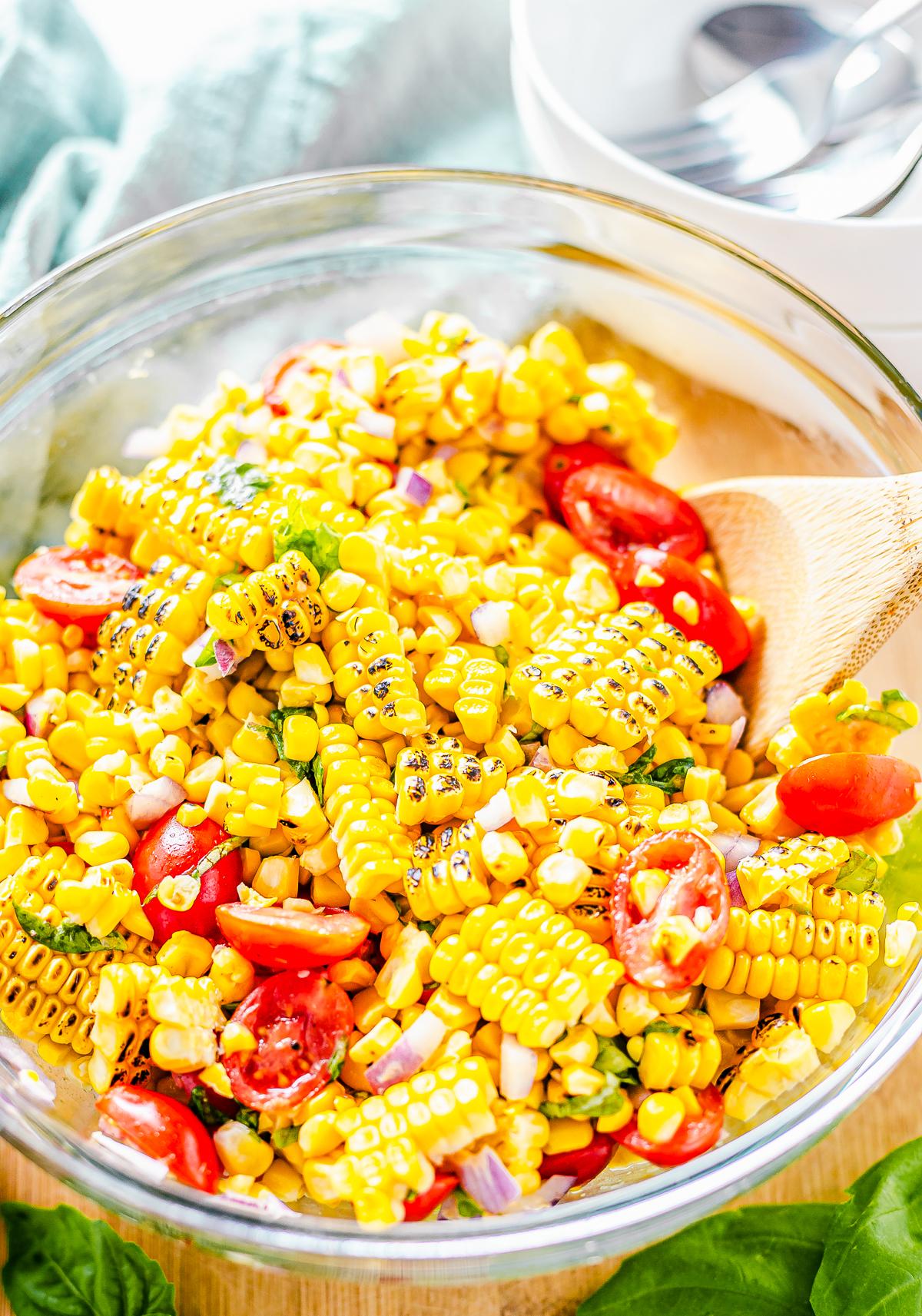 Spoon im bowl of salad